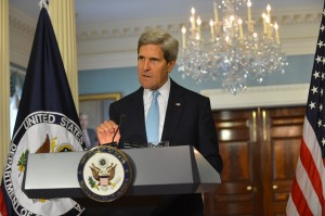 U.S. Secretary of State John Kerry on Aug. 30, 2013, claims to have proof that the Syrian government was responsible for a chemical weapons attack on Aug. 21, but that evidence failed to materialize or was later discredited. [State Department photo]