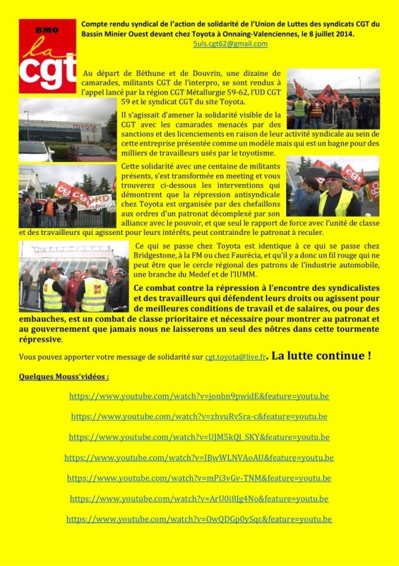 repression syndicat toyota cgt