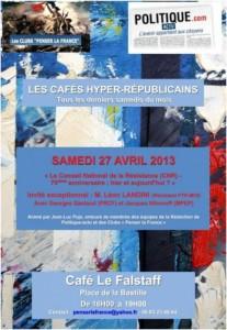 """Samedi 27 avril 2013 : 23ème Café hyper-républicain – """"Le Conseil National de la Résistance (CNR), 70 ans après : l'ancien et le moderne"""""""