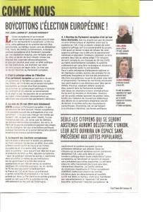 L'appel national au Boycott des Européennes dans Marianne de cette  semaine – CNR RUE
