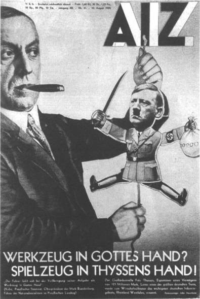photomontage  de l'artiste et militant communiste  John Heartfield  : Hitler la marionnette de la classe capitaliste