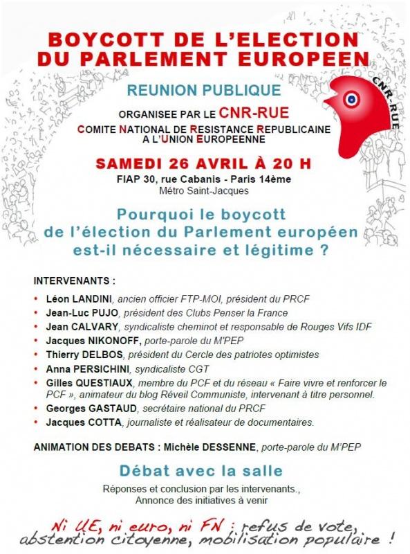 réunion publique CNR-RUE paris 26 avril boycott élection européenne
