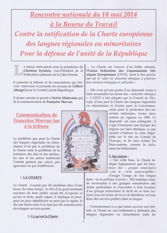 Contre la charte des langues Contre la charte des  langues minoritaires