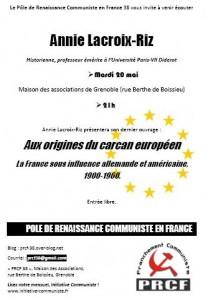 aux origines du carcan européen invitation PRCF 38 annie lacroix riz