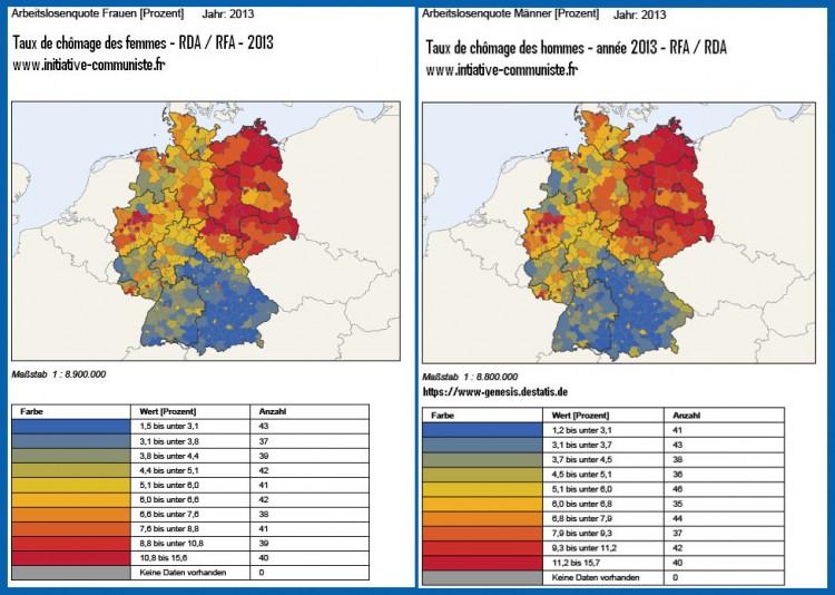 Comparaison des taux de chomage RDA - RFA 2013 - H-F