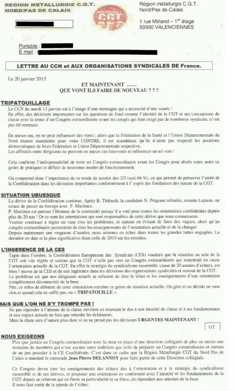 CGT lettre au CCN régions métalurgie nord