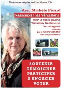 Vénissieux : soutien à la liste de Michèle PICARD  ….