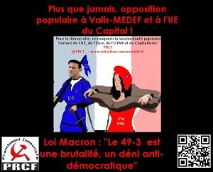 Loi Macron : opposition populaire à Valls-MEDEF et à l'UE du capital # 49.3 #communiqué