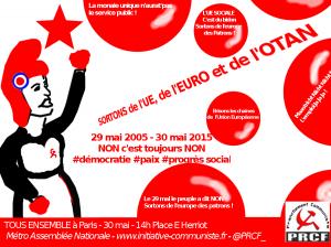 30 mai : sortons de l'UE ! Slogan pour la manifestation à Paris