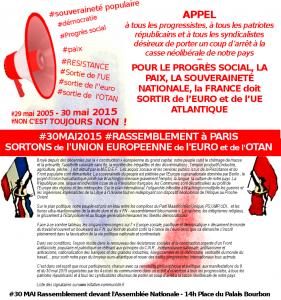 #30 mai 2015, 14h : Appel au rassemblement à Paris ! La France doit sortir de l'Euro et de l'UE Atlantique !…
