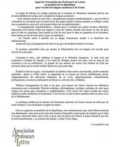 Appel de l'Association des Professeurs de Lettres au président de la République