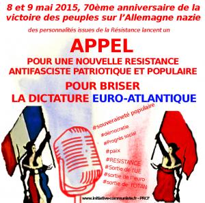 8 et 9 mai 2015, 70e anniversaire de la victoire des peuples sur l'Allemagne nazie ! Appel à la Résistance !