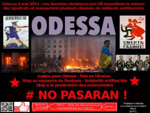 2 mai 2014 à Odessa, les fascistes assassinent dans la maison des syndicats. L'UE et les USA soutiennent leur régime.