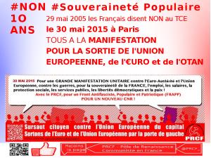 [Dossier spécial]  Meeting pour la sortie de l'UE, de l'euro et de l'OTAN – 30 mai 14h – Paris place E Herriot