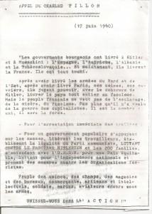 Le 17 juin 1940 l'appel à la résistance lancé en France par Charles Tillon, dirigeant du PCF clandestin.