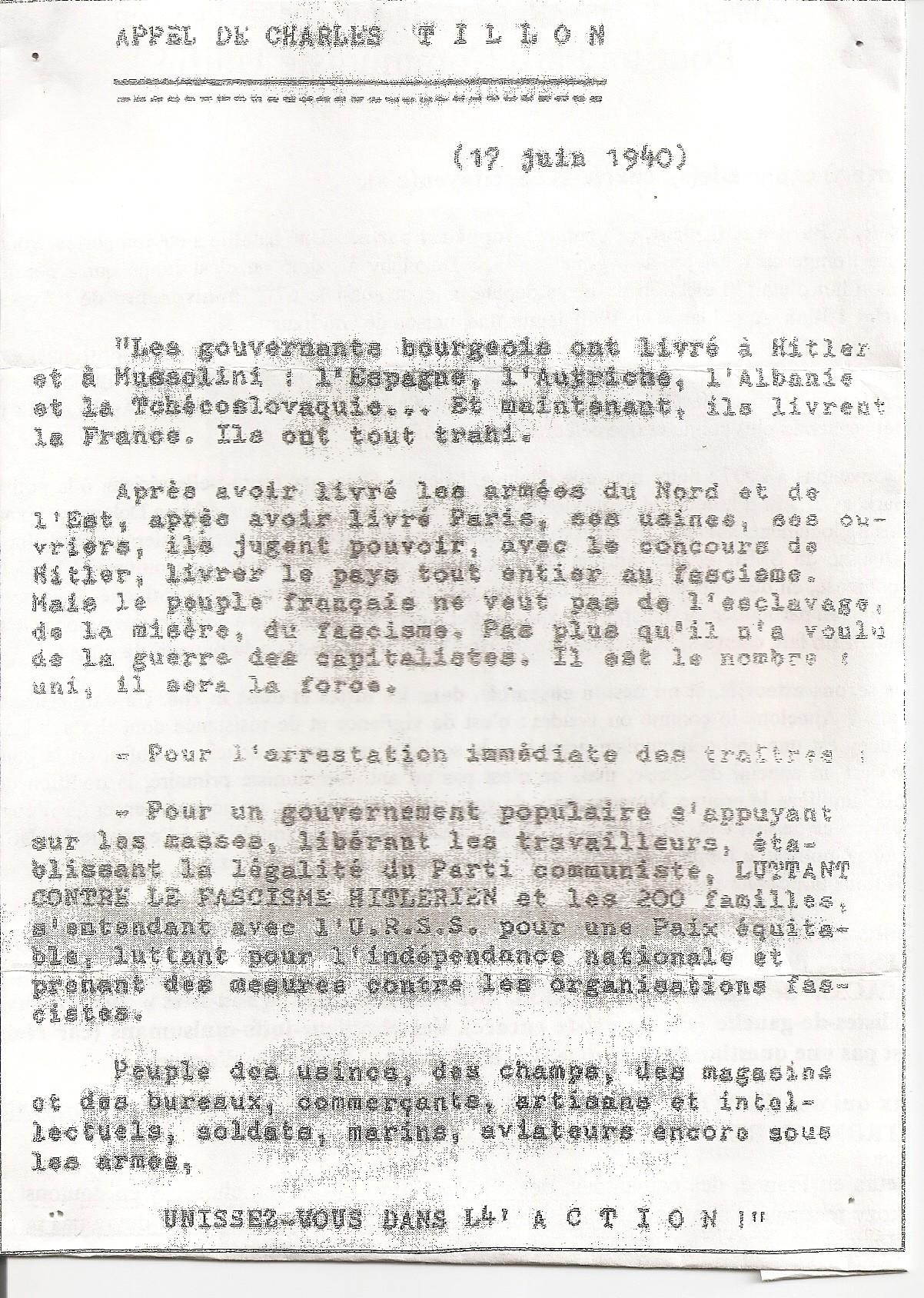 17 juin 1940 appel tillon résistance