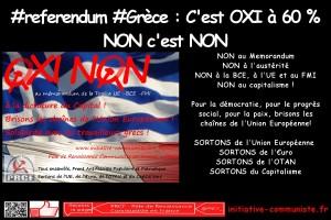 #OXI Grèce : victoire du NON ! C'est NON à l'UE ! 61 % de OXI