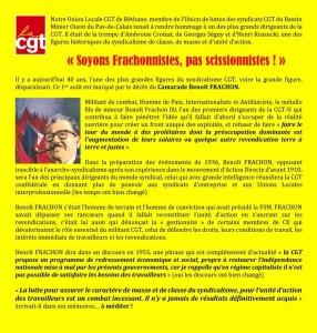 """""""Soyons Franchonnistes, pas scissionnistes !"""" par CGT du Bassin Minier Ouest du Pas-de-Clais"""