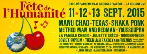 Qui y aura-t'il en concert à la Fête de l'Huma 2015 ? [reprise L'Humanité]