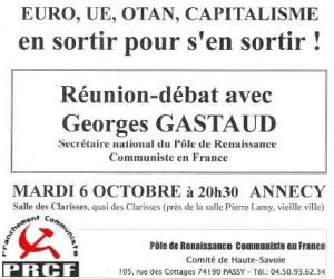 Conférence de Georges Gastaud à Annecy le 6 octobre #conférence #débat #annecy #PRCF