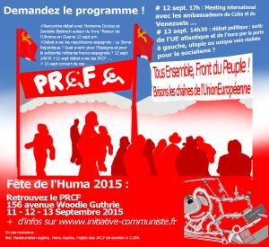 Fête de l'Huma 2015 : 3 jours formidables de débats et de fête sur le Stand du PRCF ! Merci à tous !
