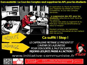 La Cour des Comptes demande la suppression des APL pour les étudiants et la fusion avec le RSA pour satisfaire à l'euro austérité !