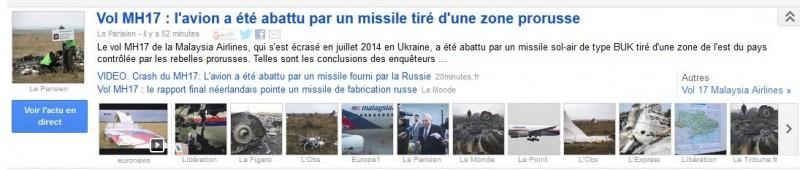capture écran google actualité MH17