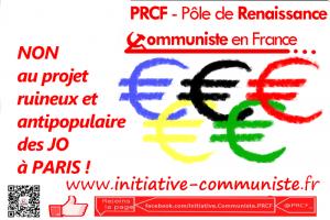 #PARIS20124 : Les JO à PARIS, une fausse bonne nouvelle pour notre pays – Déclaration du PRCF