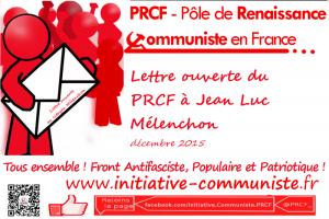 Lettre ouverte du PRCF à Jean-Luc Mélenchon …