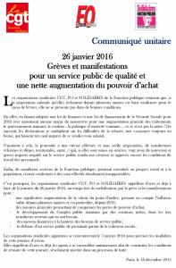 Journée d'action intersyndicale : Union, Action, pour les salaires et les services publics [ 26 JANVIER 2016 ]