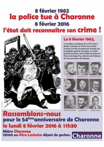 8 Février 1962 – 8 Février 2016 : 54e anniversaire de l'assassinat de 9 ouvriers à CHARONNE !
