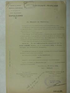 Décret d'expulsion d'Olszanski