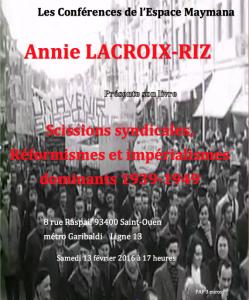 conférence annie lacroix-riz 13 février 2016