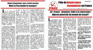 Tract, Affiches, pétition …  les militants du PRCF partout à l'action !