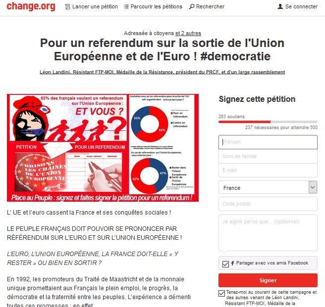capture d'écran pétition change.org