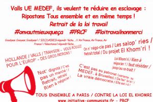 Slogans dans les manifestations du 9 mars :  [proposés par les JRCF pour réchauffer le climat social ]