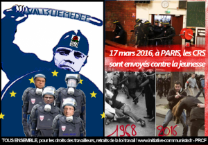 #manifs17mars Les CRS contre la jeunesse : le gouvernement Valls UE MEDEF a fait couler le sang des étudiants #violence