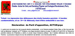 Répression des défenseurs des droits de l'homme au Tchad !