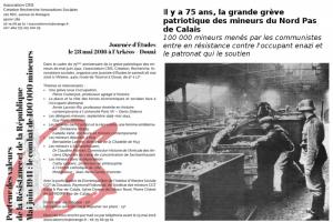 La grève c'est la liberté – 75e anniversaire de la Grande Grève patriotique des mineurs du Nord – Journée d'étude le 28 mai à Douai