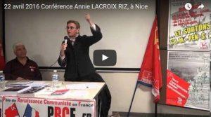 Vidéo : les origines de la construction européenne : mythes et réalités avec Annie Lacroix-Riz une conférence organisée par le PRCF 06