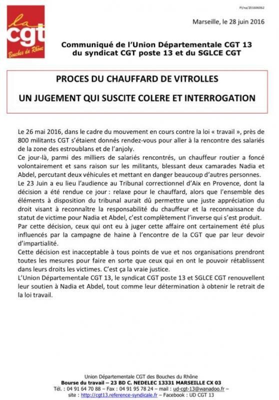 communiqué CGT violences vitroles loi travail