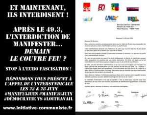 interdiction de manifester 23 avril lettre CGT