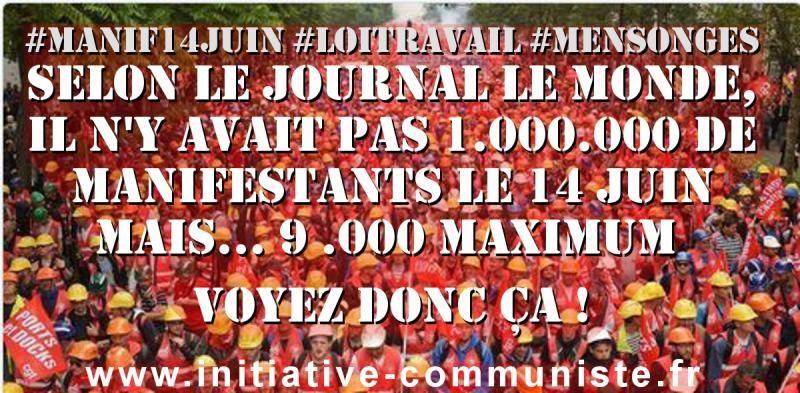 les chiffres bidons du Monde manifestation paris 14 juin