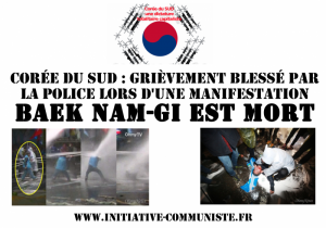 Corée du Sud : Grièvement blessé par la police lors d'une manifestation, Baek Nam-Gi est mort .