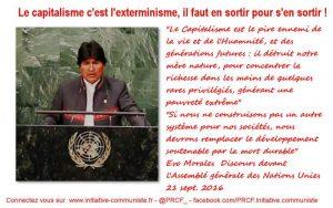 """#UNGA """"Le Capitalisme est le pire ennemi de la vie et de l'Humanité"""" – Evo Morales"""