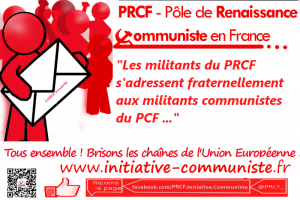 Adresse fraternelle des militants du PRCF aux militants communistes du PCF