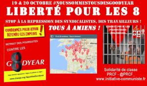 la carte des rendez vous pour être Tous à la manifestation à Amiens le 19 et le 20 octobre ! #goodyearamiens
