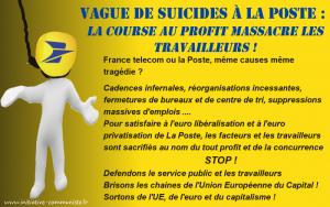 Vague de suicides à la Poste : la course au profit massacre les travailleurs !