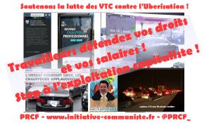 Uberisation : le PRCF soutient la lutte de classe historique des chauffeurs VTC ! #uber #VTC