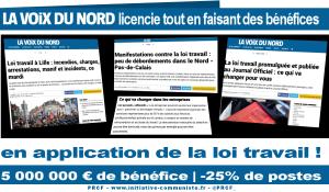 Grâce à la Loi Travail La Voix du nord compte licencier 25% de ses employés alors que le journal est bénéficiaire